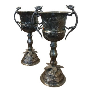 Gothic Silver & Jewels Chalices - A Pair For Sale
