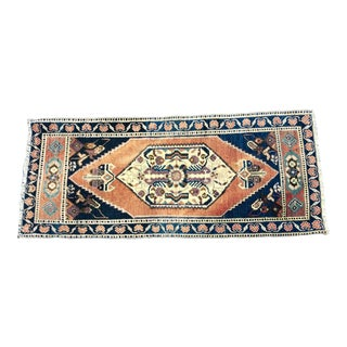 Vintage Medallion Design Turkish Handmade Wool Orange and Blue Rug For Sale