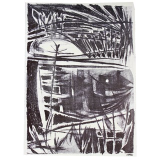 Jerry Opper Mid-Century Modernist Abstract Black & White Lithograph, Circa Late 1940s- Early 1950s For Sale