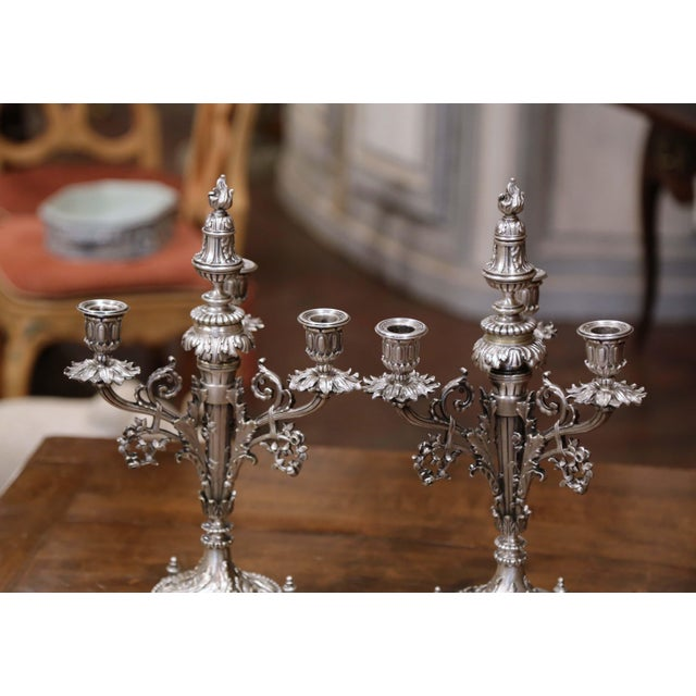 Pair of 19th Century French Silvered Bronze Candelabras and Crystal Bobeche For Sale - Image 10 of 13