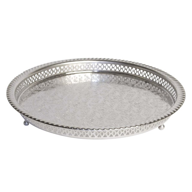 Silver Moroccan Serving Tea Tray - Image 1 of 5
