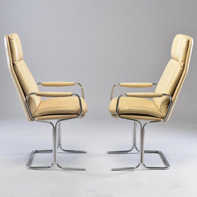 Bauhaus Tim Bates for Eleganza Collection at Pieff Chrome and Leather Armchairs - a Pair For Sale - Image 3 of 13