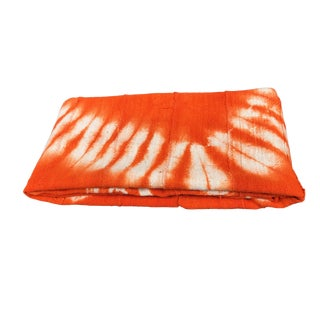 "African Bogolan Textile Mud Cloth Orange & White 42"" by 56"" For Sale"