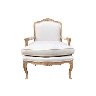 Frederick Edward French Style Carved Wood Bergere Arm Chair