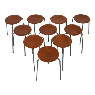 Danish Modern Stacking Wood & Steel Stools- Set of 10 For Sale