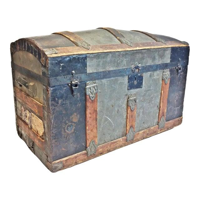 Vintage Rustic Wood Camelback Steamer Trunk For Sale