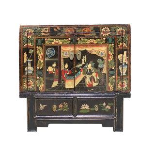 Chinese Vintage Black Oriental People Scenery Side Table Cabinet