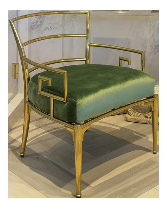 Green Silk Velvet Upholstered Brass Greek Key Chair