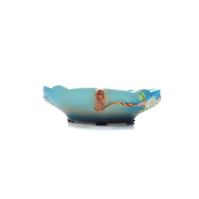 Ceramic Antique Roseville Pottery Blue Bowl For Sale - Image 7 of 10