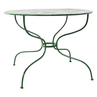 Vintage French Green Iron Garden Table For Sale