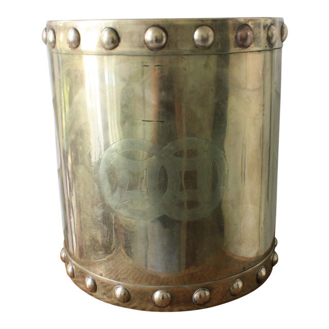 Vintage Mid-Century Chinoiserie Style Brass Planter For Sale