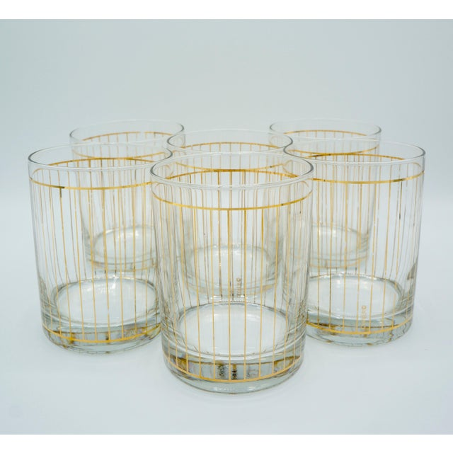 Golden Pinstriped Low Ball Cocktail Glasses (6) & Champagne Bucket With Bar Tools For Sale - Image 11 of 13