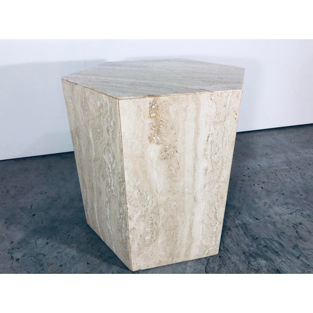 1970s Mid-Century Modern Hexagonal Italian Travertine Pedestal or Side Table For Sale - Image 4 of 10