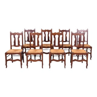 Set of 8 Antique Country French Hand Carved Oak Dining Chairs With Rush Seats For Sale