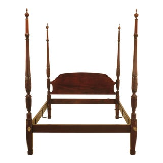 21st Century Stickley Queen Size Mahogany Rice Carved Bed For Sale
