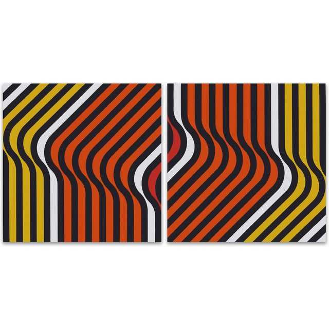 Orange Ripples 1970 Large Supergraphic Print Set - Image 1 of 5