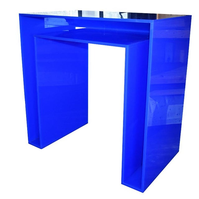 Abstract Memphis Style Blue Acrylic Desk For Sale - Image 3 of 7