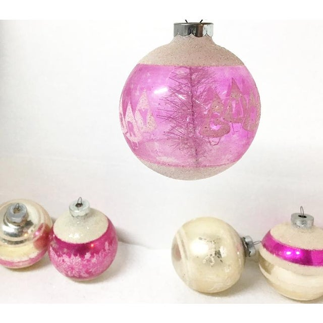 1960's Vintage Shiny Brite Pink Christmas Tree Ornaments - Set of 6 For Sale - Image 5 of 6