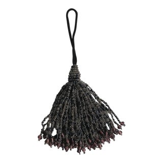 Vintage Beaded Glass Tassel Tie Back, Furniture Tassel For Sale