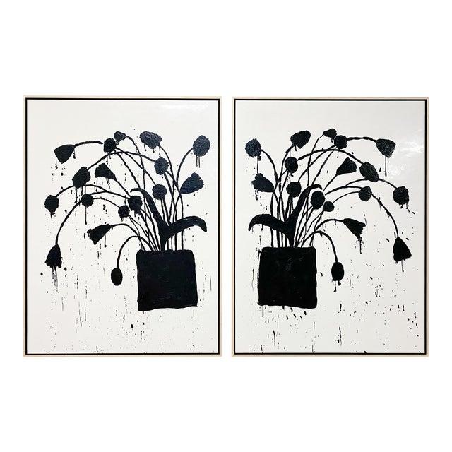 "Exclusive John O'Hara ""Botanical, 10"" Encaustic Paintings (2-Panel) For Sale"