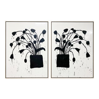 "John O'Hara ""Botanical, 10"" Encaustic Paintings (2-Panel) For Sale"