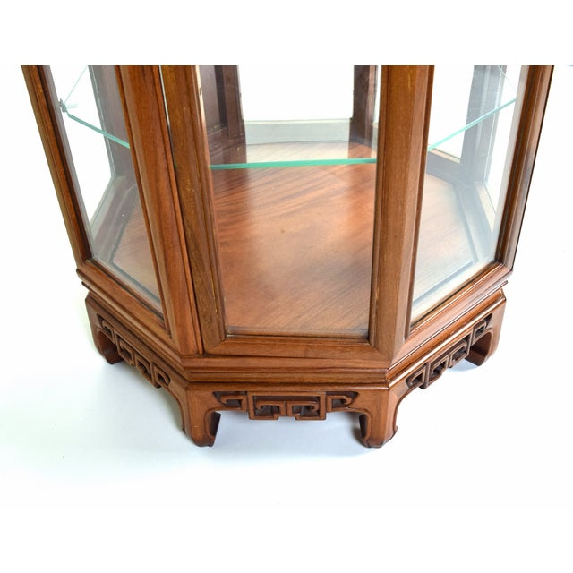 Vintage Asian Rosewood Octagonal Curio China Cabinet For Sale - Image 10 of 12