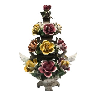 1950s Italian Porcelain Topiary With White Doves For Sale