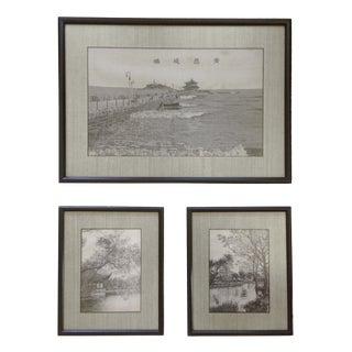 1950s Vintage Asian Woven Silk Landscapes - Set of 3 For Sale