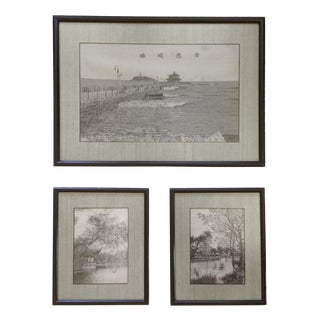 Mid Century Asian Art Grouping Woven Silk Black and White Landscape Pictures - Set of 3 For Sale