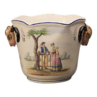 Hand Painted Earthenware Cachepot from France, C. 1900 For Sale