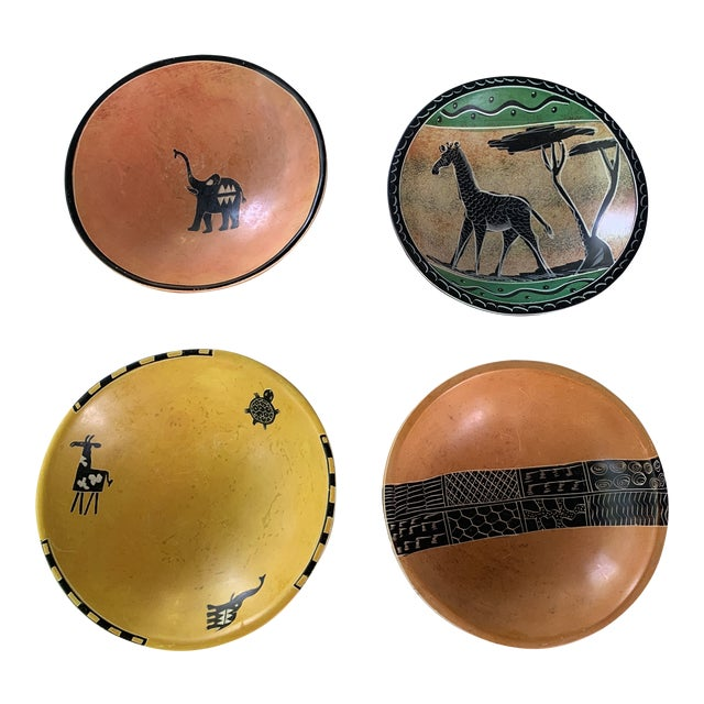 African Carved Soapstone Bowls - Set of 4 For Sale