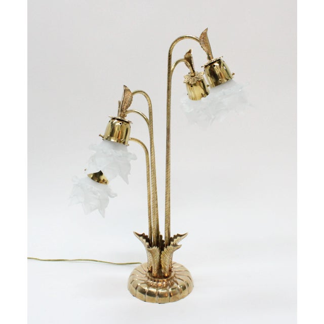 Vintage Brass Lamp With Rose Petal Shades - Image 2 of 6