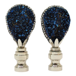 Midnight Blue Geode Cluster Finials by C. Damien Fox, a Pair. For Sale