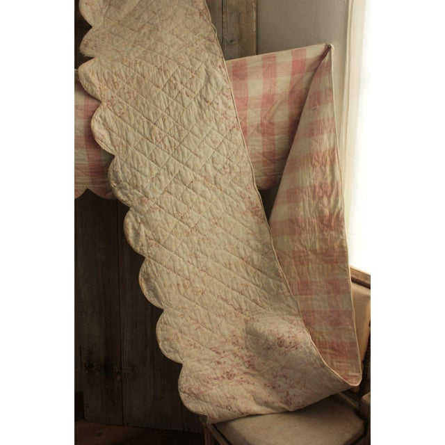 "Late 18th Century Antique Early 18th C. French Vichy Check Ruffle Bed Quilted Valance - 17' x 20"" For Sale - Image 5 of 8"