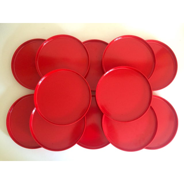 Massimo and Lella Vignelli Vintage 1970's Heller Massimo & Lella Vignelli Red Melamine Iconic Stacking Modernist Dinnerware - 40 Pc Set For Sale - Image 4 of 13
