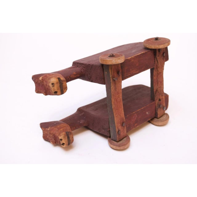 1940s Vintage Hand-Carved Wooden Cattle Cart For Sale - Image 5 of 13