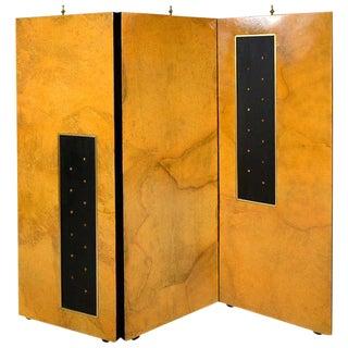 Arturo Pani Parchment & Gold Leaf Screen For Sale
