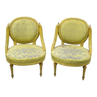 Vintage French Louis XVI Style Low Petite Boudoir Small Hiprest Chairs - a Pair For Sale