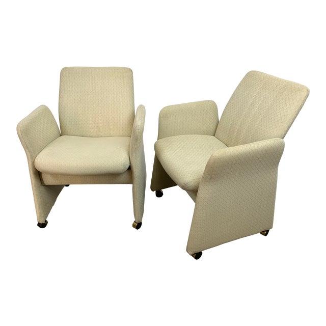 Vladimir Kagan Style Modern Chromcraft Rolling Tilting Club Chairs For Sale