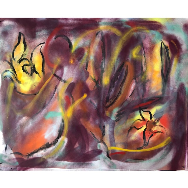 Original Abstract Oil Painting by Erik Sulander on Paper 46x36 For Sale