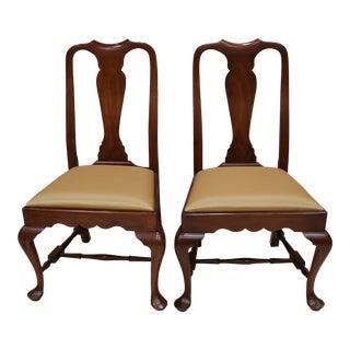 Henkel Harris Wild Black Cherry Queen Anne Side Chairs - A Pair