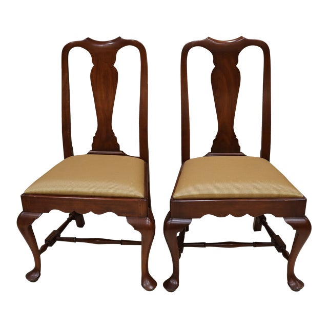 Henkel Harris Wild Black Cherry Queen Anne Side Chairs A Pair