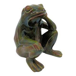 1969 Sitting Green Frog Figurine For Sale