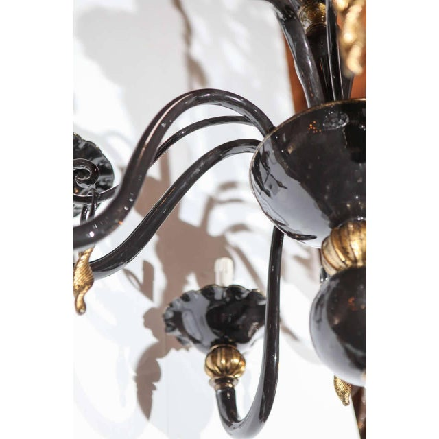 Black and Gold Venetian Chandelier For Sale In Palm Springs - Image 6 of 9