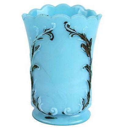 Blue Milk Glass Vase Chairish