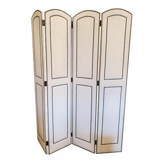 Upholstered 4 Panel Screen With Nailheads For Sale