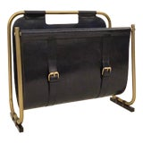 Image of Modern Deep Blue Leather and Antique Brass Magazine Rack For Sale