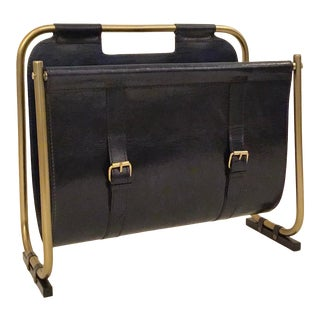 Modern Deep Blue Leather and Antique Brass Magazine Rack For Sale