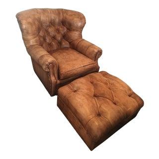 Hancock & Moore Leather Armchair & Ottoman For Sale