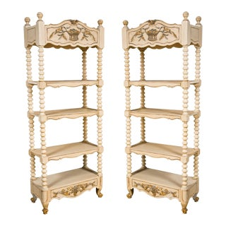 Decorative Painted Etagere Bookcases - A Pair